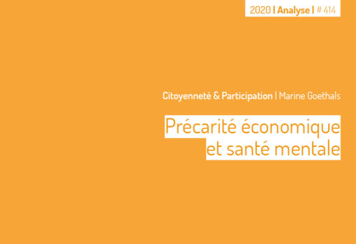Cover publication Précarité économique et santé mentale